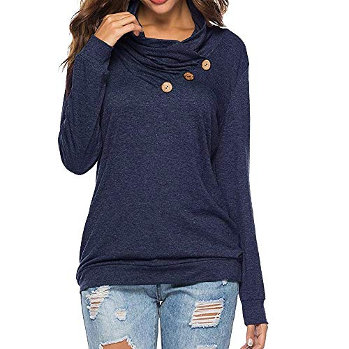 shirt Long Sleeve Cowl Neck Loose Tunic Pullover Shirt Tops with Button ()