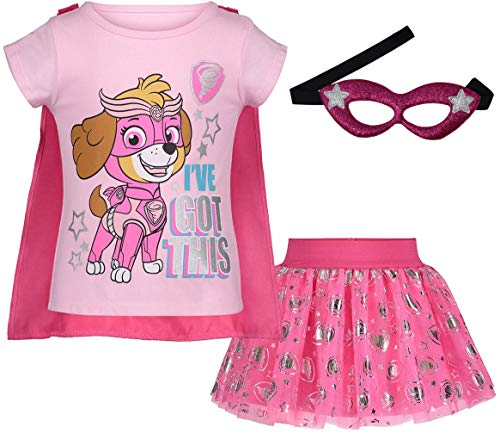Toddler Girls Skye Patrol Clothing Outfit Shirt Tutu Tulle Skirt and Eye Mask 3pc (4T) Pink]()