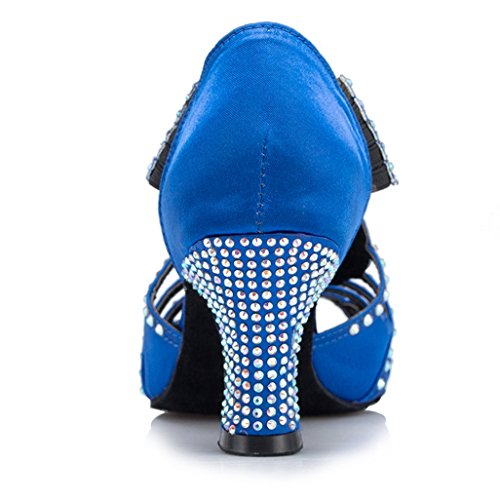 Toe Shoes Blue Womens Latin Peep Dance Samba Wedding TDA Satin M Mid Modern US Heel Rumba 7 RFpxU