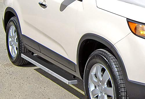 APS iBoard (Silver 4 inches) Running Boards | Nerf Bars | Side Steps | Step Rails for 2011-2013 Kia Sorento Sport Utility -