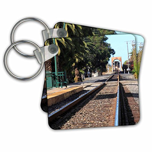 Henrik Lehnerer Designs - Transportation - Ventura Train Station California with a view of the tracks and train. - Key Chains - set of 2 Key Chains (kc_240389_1)