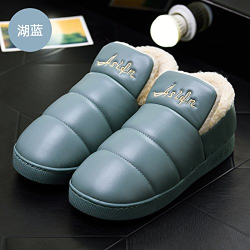 LaxBa Femmes Hommes chauds dhiver Chaussons peluche antiglisse intérieur Cotton-Padded Chaussures Slipper Lake blue40-70 inscrit 39-40