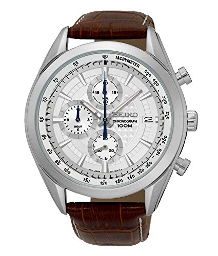 Seiko Chronograph SSB181 Silver Tone Dial Brown Leather Band Men's Watch (Barcelona Brands)