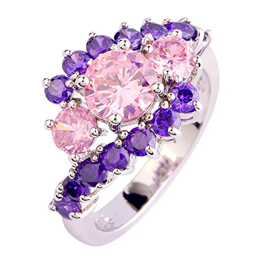 Narica Womens Brilliant Charming Round Cut Brilliant Pink Topaz & Amethyst Cluster Cocktail Ring (Pink Round Lab)