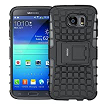 Case for Samsung Galaxy S6 ,Fetrim Rugged Dual Layer Shockproof TPU Case Protective Cover for Samsung Galaxy S6 with Built-in Kickstand (Black)