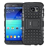 Samsung galaxy S6 Case,Shockproof Slim rugged Case Dual Layer Ultra Protective Rubber Hard Protection Cover for Samsung galaxy S6 with Kickstand (Black)