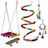 OBANGONG 5 Pcs Bird Swing Toys Bell Colorful Natural Wood Hammock Hanging Perch Training Skateboard Birds Parakeets Cockatiels Conures Macaws Parrots,Color Random