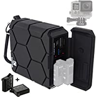 GoPro HERO4 Black / Silver Portable Outdoor Charger (Includes 2x Battery AHDBT-401) - 5200mAh Rechargeable Power Bank - Waterproof Shockproof Rugged - 5V/2.1A USB Output for Phone, Tablet and Camera