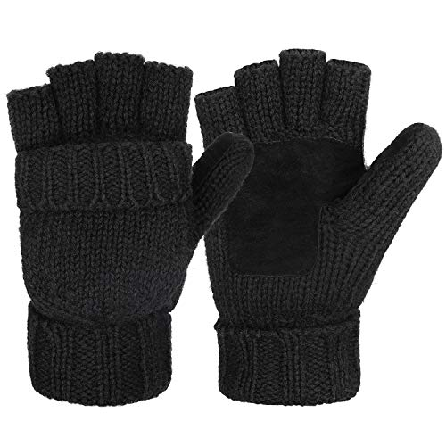 Maylisacc Wool Knit Fingerless-Gloves for Men Convertible-Mittens Women Black (Drive Rip)