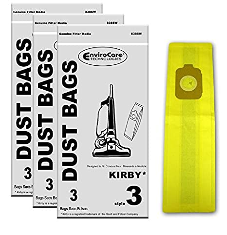 EnviroCare Replacement Vacuum Bags for Kirby Style 3 Heritage II Series Uprights 9 Bags
