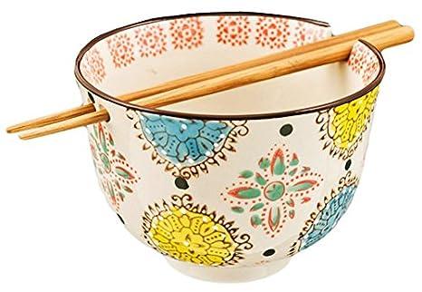 Happy Sales HSRBCVRN Ramen Udon Noodle Soup Cereal Bowl w//Chopsticks