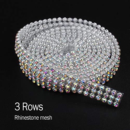 ASTONISH Top Fashion Promotion Brilliant SS8 CrystalAB Rhinestone 3rows Aluminum mesh strass For Garment Crystal 12Rows