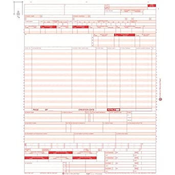 "CMS 1450 Health Hospital Insurance Claim Form Laser 8-1//2 x 11/"" 100 UB-04"