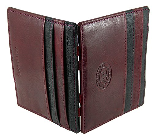 Puzzle Credit Dark Holder Contrasting Flip Black Brown Wallet RFID Blocking Wine Card amp; Leather Brown Quality Magic qzTwpTI