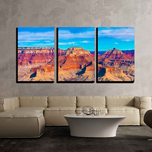Canyon Rim 3 Light (wall26 - 3 Piece Canvas Wall Art - the Beautiful Landscape of Grand Canyon National Park, Arizona - Modern Home Decor Stretched and Framed Ready to Hang - 24