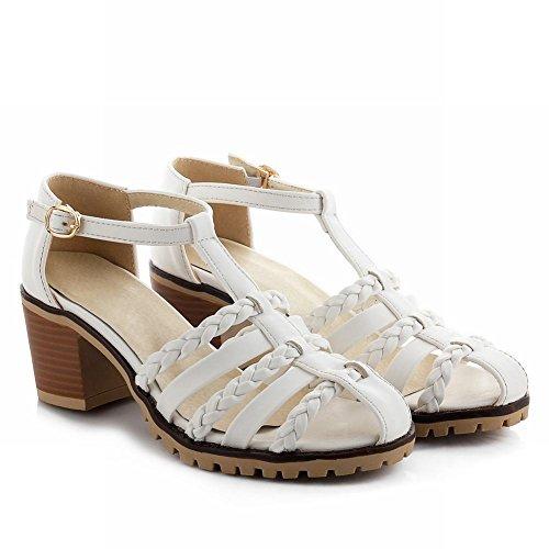 Dames T-strap Met Gecentraliseerde Gesp Dames Comfort Dikke Middenhoge Sandalen Wit