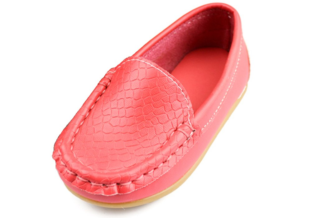 iDuoDuo Kids Casual Solid Embossed Slip on Loafers Watermelon Red 5.5 M US Toddler