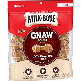 Milk-Bone Gnaw Bones Knotted Bones Dog Chew Treats, Chicken, Mini Treats, 19.1 Ounces, Rawhide Free