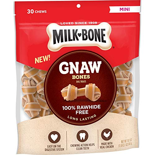 Milk-Bone GnawBones Knotted Bones, Rawhide-Free, Chicken, Mini, 19.1 Ounce Pouch