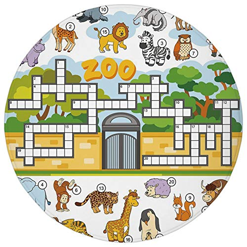 Round Rug Mat Carpet,Word Search Puzzle,Zoo Themed Education Game with Different Animals Numbers and Words Print Decorative,Multicolor,Flannel Microfiber Non-slip Soft Absorbent,for Kitchen Floor Bath -