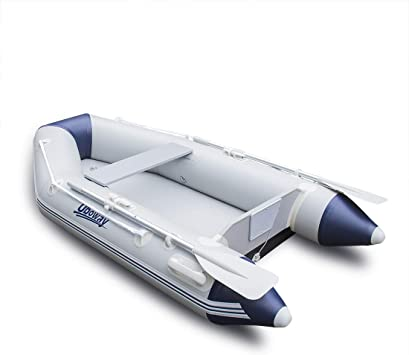 Uboway 2 Or 4 Person Inflatable Dinghy Boat Raft Fishing Raft Set With Inflatable Bottom Floor And Alumium Oars Support Install Engine