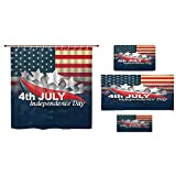 iPrint Bathroom 4 Piece Set Shower Curtain Floor mat Bath Towel 3D Print,Standing with US Flag War Save Country Hero,Fashion Personality Customization adds Color to Your Bathroom.