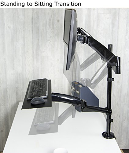 Vivo Dual Monitor Sit Stand Height Adjustable Workstation