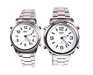 Sprechende Funk-Armbanduhr Damen & Herren Metall-Gliederarmband Stile Damenuhr