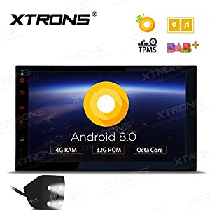 XTRONS 7 Inch Android 8.0 Octa Core 4G RAM 32G ROM HD Digital Multi-touch Screen Car Stereo GPS Radio OBD2 TPMS Double 2 Din with Reversing Camera