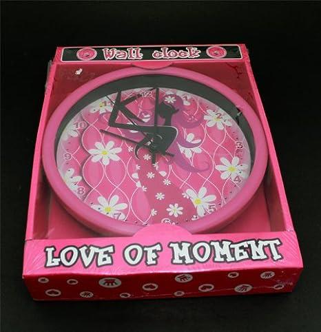 f0c7aeec464b Reloj pared niños mural love rosa diseño infantil decoracion dormitorio  hora  Amazon.es  Electrónica