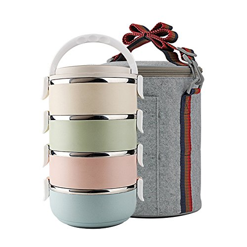 less Steel Lunch Box Vacuum Lunch Containers 2.6L(0.68Gal) (Grey) (4 Tier Box)