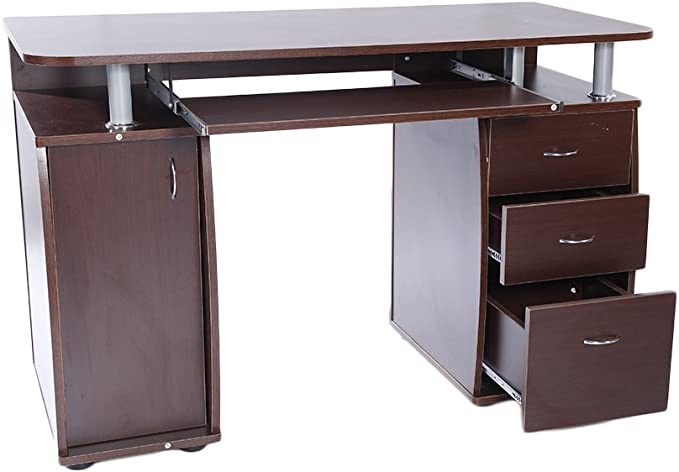 Beige Computer Desk Table with 15 mm MDF Portable 1 Door with 3 Drawers Storage