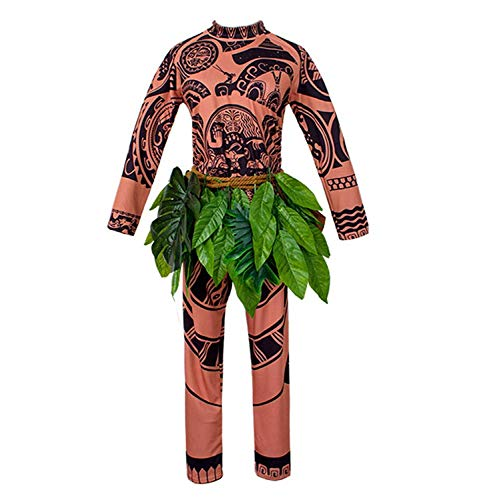 Moana Maui Tattoo T Shirt/Pants Halloween Adult Mens Women Cosplay (Brown, M)