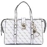 GUESS Joslyn Monogram Satchel Bag Crossbody Handbag (White)