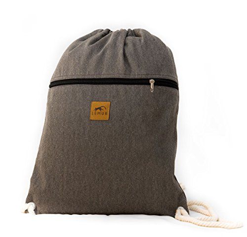 Canvas Drawstring Backpack – Eco-Friendly Day Bag, Gym Sack Pack, Cinch Bag with Thick, Soft Cotton Ropes by Lemur Bags (Stone Gray)