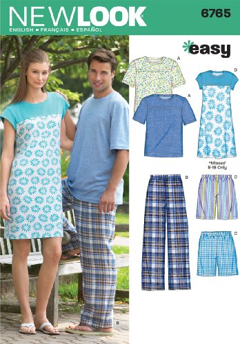 Simplicity Creative Group, Inc New Look Sewing Pattern 6765 Miss/Men Sleepwear, Size A
