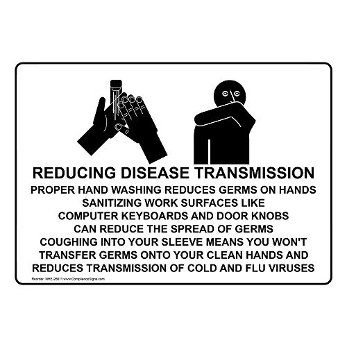 ComplianceSigns Aluminum Proper Hand Washing Reduces Germs Sign, 14 X 10 in. with English Text and Symbol, White