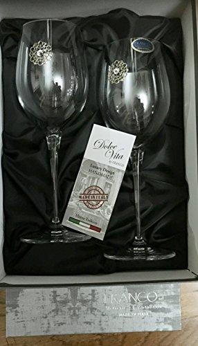 Italy Cristalleria Fratelli Fumo Fine Italian Glasses Jeweled Silver Filigree Medallion Set of 2 Boxed