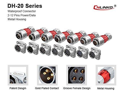 CNLINKO 4 Pin Power Industrial Circular Connector, Male Plug & Female Socket, Outdoor Waterproof IP67, Signal AC DC, Alluminum Zinc Alloy Metal Case Heavy Duty by CNLINKO (Image #5)