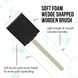 US Art Supply 2 inch Foam Sponge Wood Handle