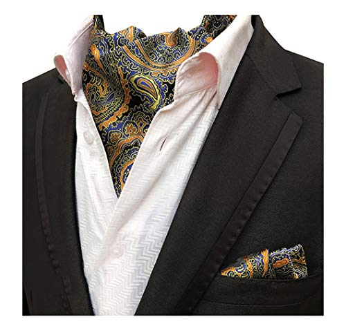 MOHSLEE Mens Yellow Paisley Cravat Necktie Woven Ascot Necktie Pocket Square Set (Mens Floral Scarf)