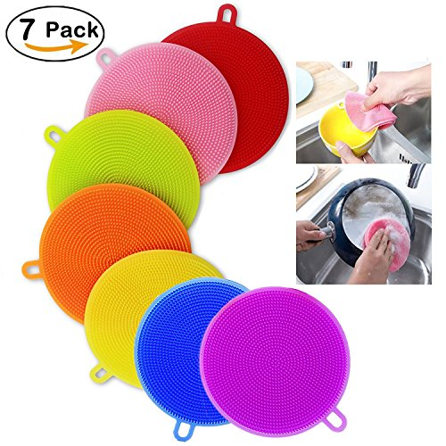 Silicone Dish Washing Brush,Food Grade Scrubber BPA Free,MultipurposeKitchen Cleaning Sponges for Pot, Pan, Fruit and Vegetables(7 Pack),Lideemo