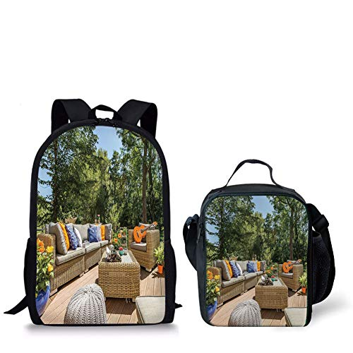 Cheap  Schoolbags Lunch Bags,Patio Decor,Summer Town House Terrace Balcony Trees Image,Light Brown Forest..
