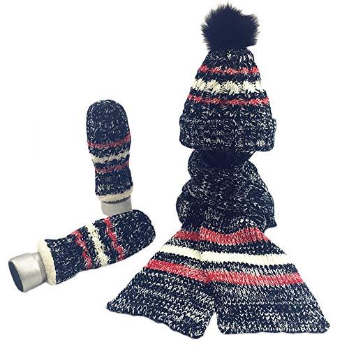 3 Piece Winter Warm Set for Women Girls - Knitted Beanie Pompom Hat Scarf Matching Mittens Gloves Gift ()
