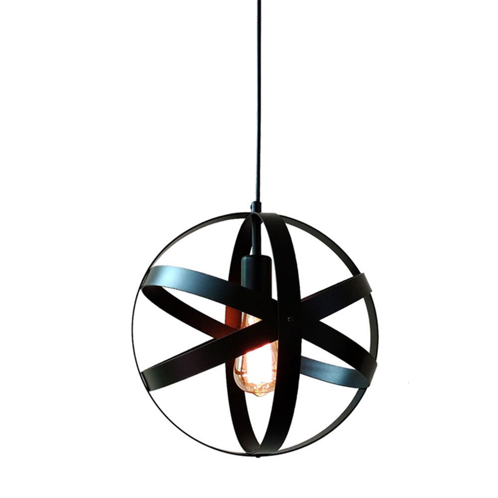 BAYCHEER HL454120 Industrial Pendant Light 11.81'' Wide Globe Pendant Lamp Hanging Lighting Ceiling Lights in Retro Style Wrought Iron for Indoor Bar Warehouse Hallway Black