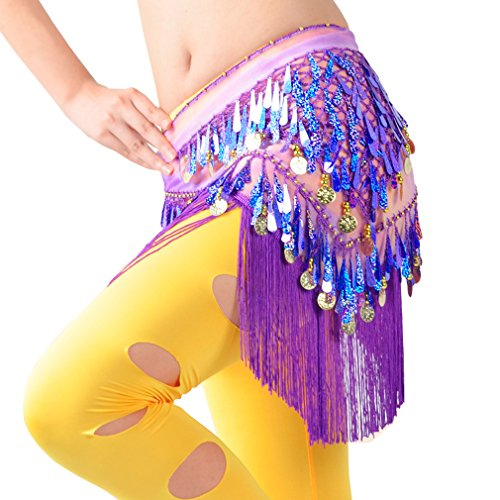 WZT Belly Dancing Belt Colorful Waist Chain Belly Dance Hip Scarf Belt (Purple)
