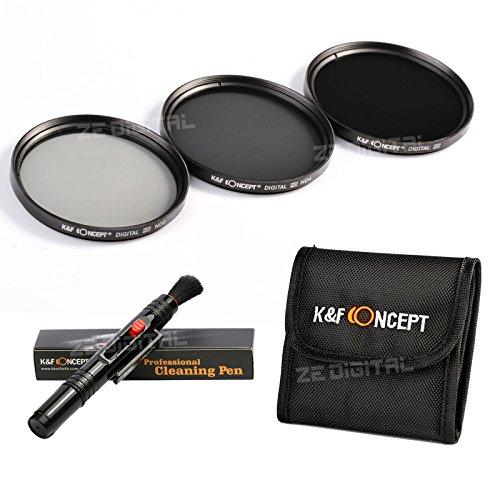 K&F Concept® 52mm ND2 ND4 ND8,ND Filter Set,Objektiv Filterset 52mm,Graufilter Set,Slim ND Filter,Neutrale Graufilter,Slim Graufilter,Neutrale Dichte Filter mit Reinigungspinsel und Filtertasche