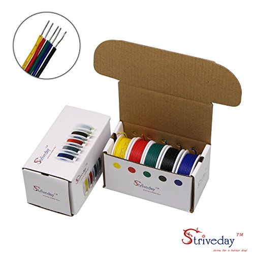 Striveday™ 26 AWG Hook Up Wire 1007 PVC Solid wire Kit box Electric wire 26 gauge 300V Cable (32.8ft Each Color) (Electronic Copper)
