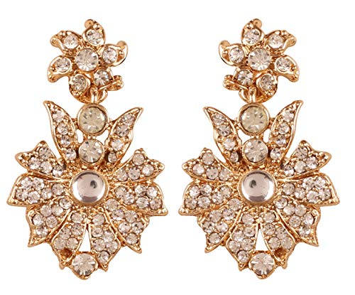NEW Touchstone Indian Bollywood Traditional Fantastic Filigree Floral White Rhinestone Long Designer Jewelry Earrings In Gold Tone For Women.