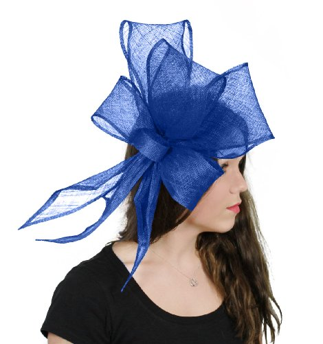 Hats By Cressida Bucks Fizz Sinamay Ascot Fascinator Hat Women's With Headband - Royal Blue by Hats By Cressida